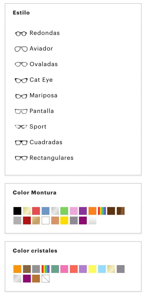 ejemplo filtros ecommerce