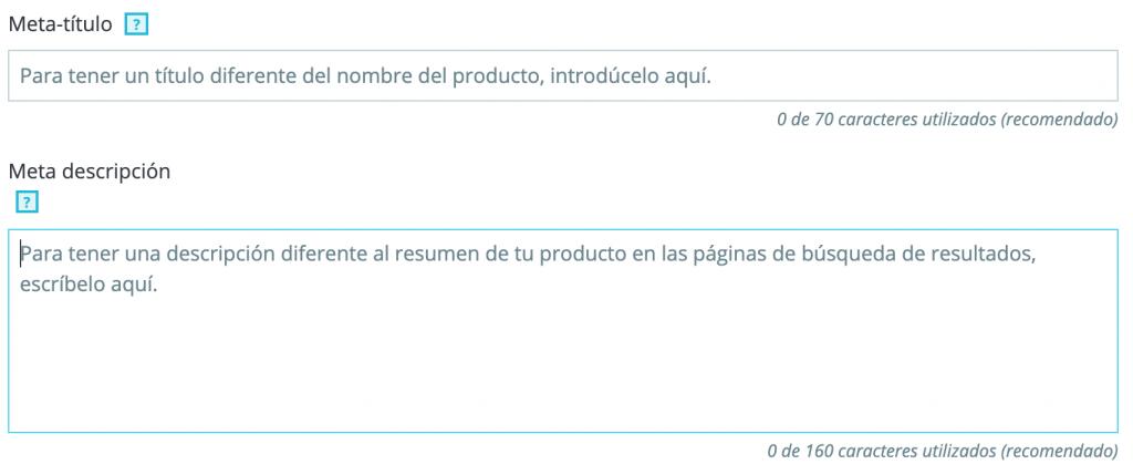 introducir metas etiquetas producto prestashop